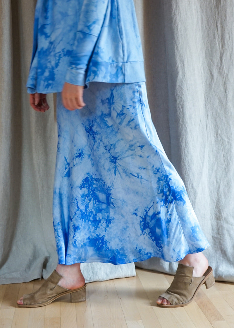 Silk Bias Skirt, Light Blue Crystal Wash