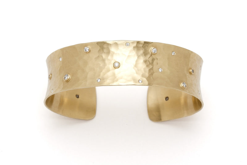 Tony Malmed, contemporary jewelry, 18kt gold, recycled metals, diamonds, fine jewelry, cuff bracelet, conflict-free, handmade, hammered finish, santa fe style