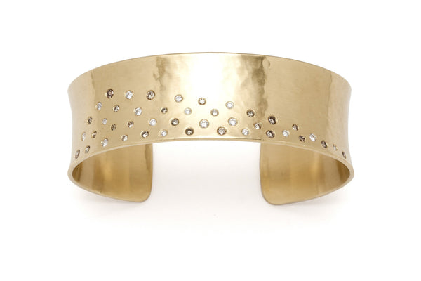 Tony Malmed, contemporary jewelry, 18kt gold, recycled metals, champagne and white diamonds, fine jewelry, snow drift, cuff bracelet, conflict-free, handmade, hammered finish, santa fe style