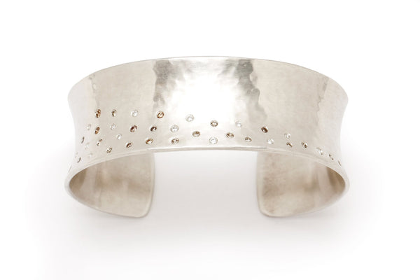 Tony Malmed, contemporary jewelry, sterling silver, recycled metals, champagne and white diamonds, snow drift, fine jewelry, cuff bracelet, conflict-free, handmade, hammered finish, santa fe style