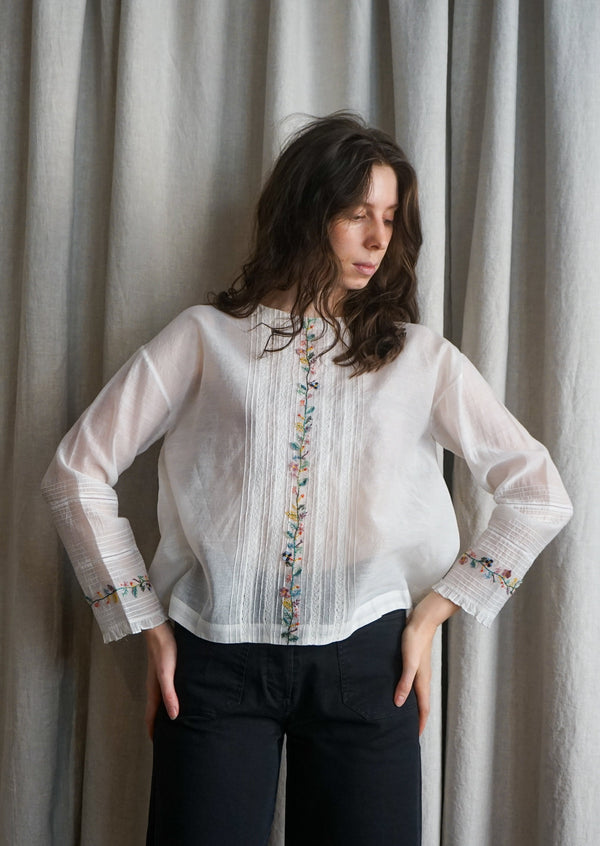 EKA Bellium White Top Blouse Shirt Embroidered Cotton Silk Handloomed Made in India Eka Handmade Linen Clothing Sustainable Fashion Comfortable Summer Dresses Indian Clothing On Sale