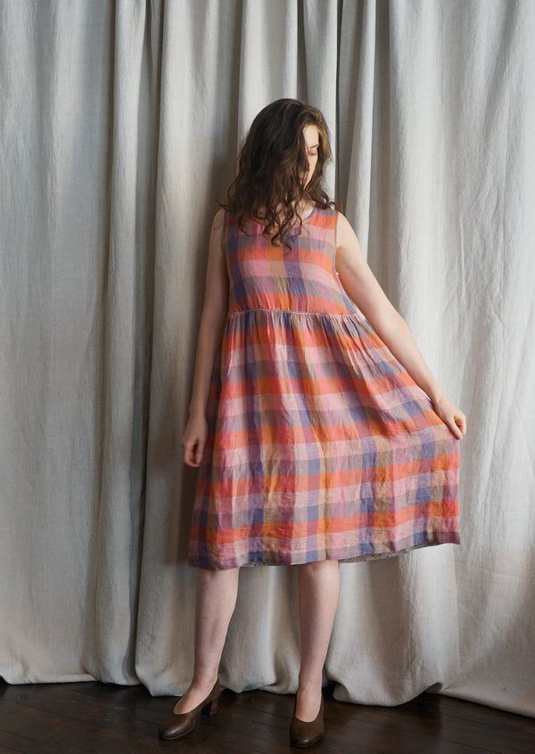 EKA Florence Dress Linen Plaid Check Handloomed Made in India