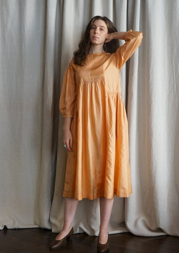 EKA Hazel Orange Silk Dress Handloomed Made in India