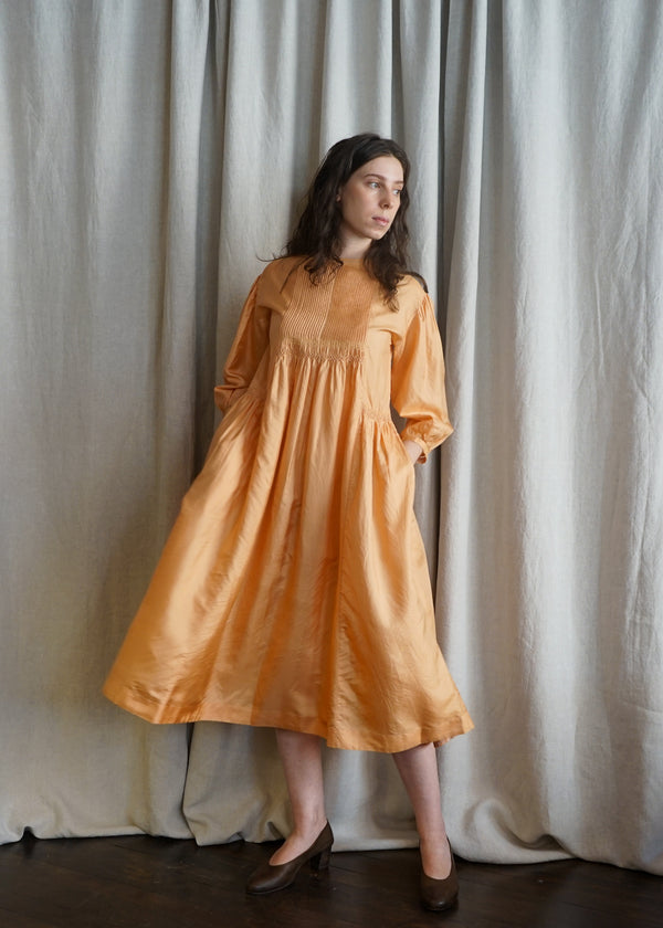 Hazel Orange Silk Dress
