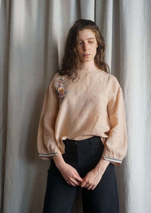 PALM PEACH LINEN EKA TOP WITH HAND EMBROIDERED DETAIL Handloomed Made in India