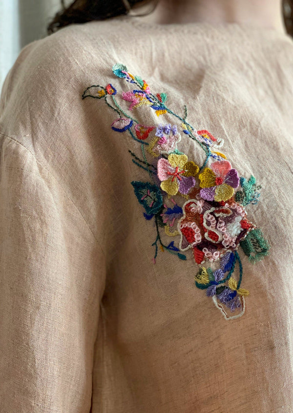 PALM PEACH LINEN EKA TOP WITH HAND EMBROIDERED DETAIL