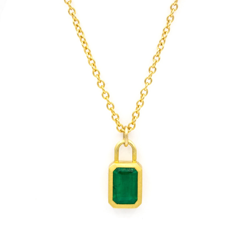 Emerald & Diamond Lock Pendant