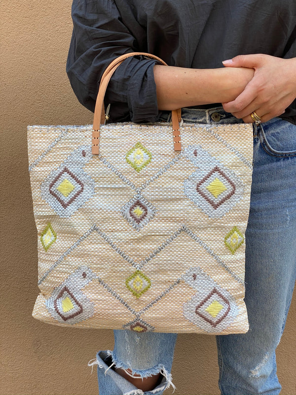 Recycled Summer Tote, Cream Ikat