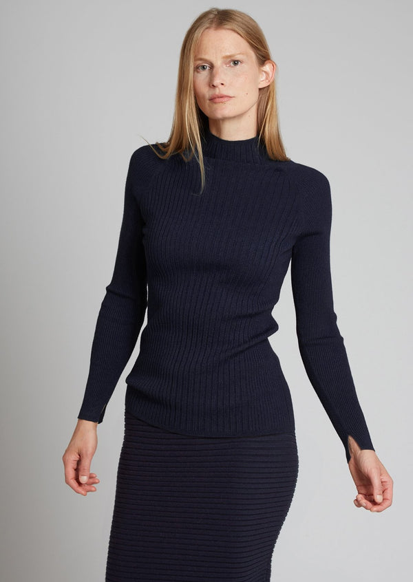 MOCK NECK RIB TOP, navy
