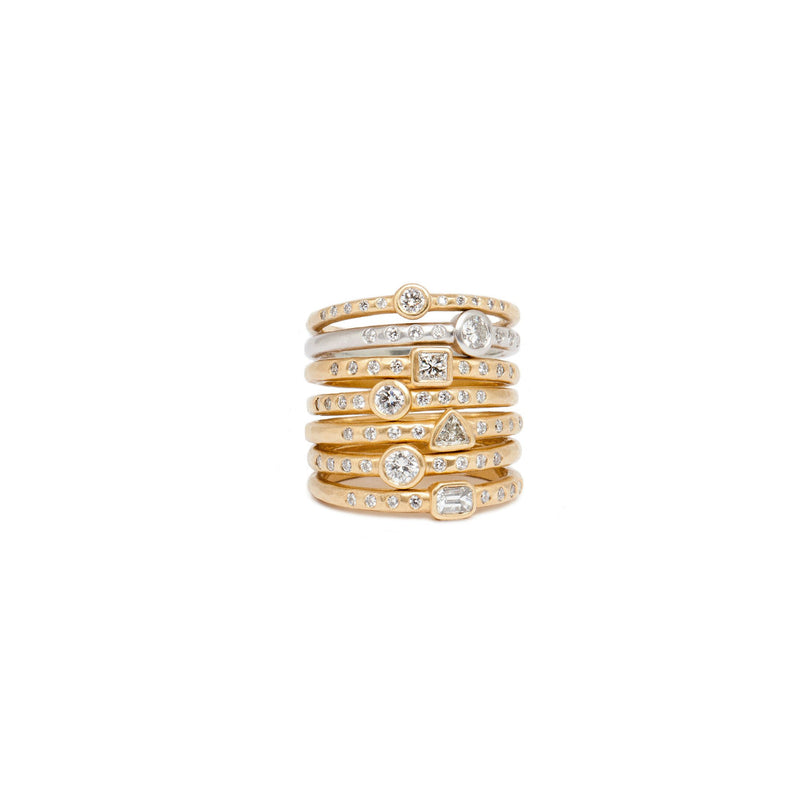 Tony Malmed, contemporary jewelry, 18kt gold, recycled metals, diamonds, fine jewelry, stackable rings, conflict-free, handmade, hammered finish, santa fe style