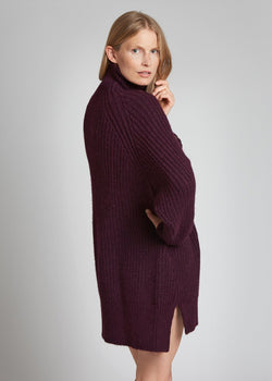 FUNNEL NECK DRESS, Dark Sepia