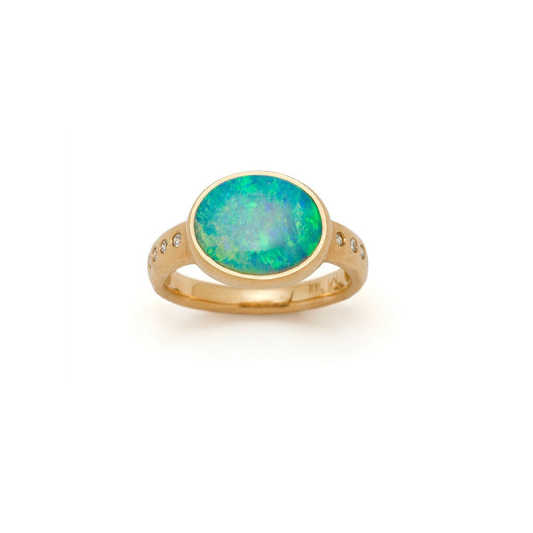 Tony Malmed, contemporary jewelry, 18kt gold, recycled metals, Australian crystal opal, diamonds, fine jewelry, ring, conflict-free, handmade, hammered finish, santa fe style