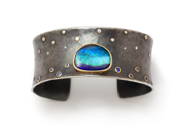 Tony Malmed, contemporary jewelry, oxidized sterling silver, 18kt gold, recycled metals, boulder opal, sapphires, diamonds, fine jewelry, cuff bracelet, conflict-free, handmade, hammered finish, santa fe style
