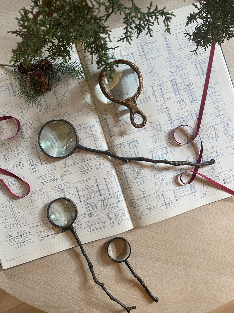 Branch Magnifying Glass, Antique Brass & Glass
