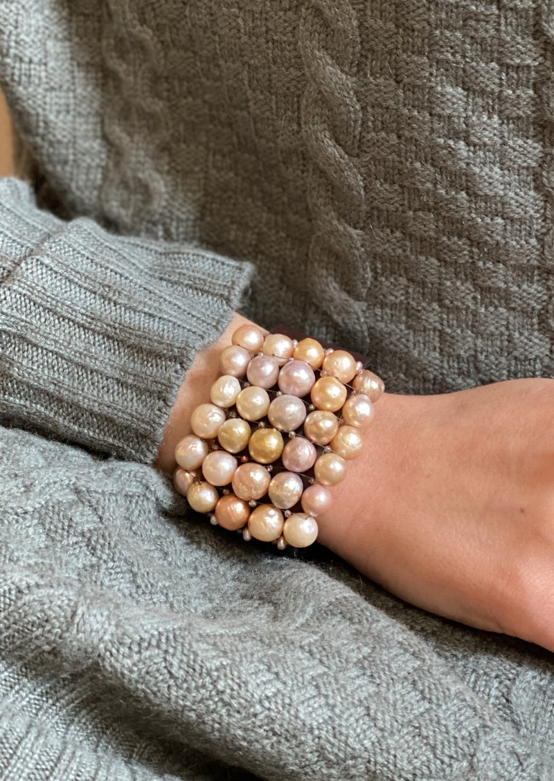 Natural Pink Pearl Gem Cuff