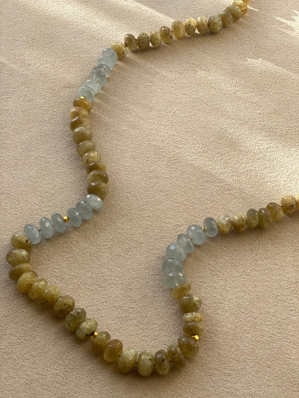 Yellow Opal & Aquamarine Necklace