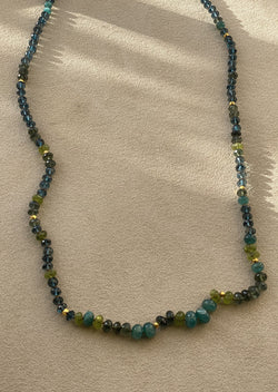 Grandidierite and Peridot Necklace