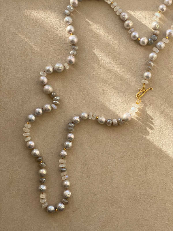 Grey Pearl and Silverite Necklace