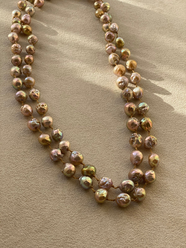 Champagne Pearl Necklace, 48""