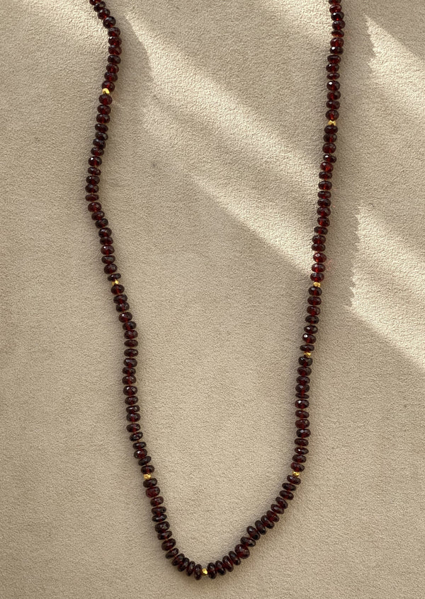 Red Garnet and 18k Gold Necklace