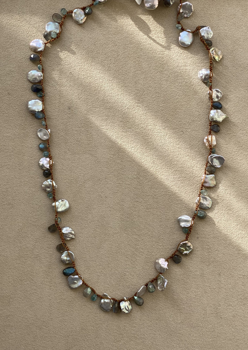 Grey Keshi Pearl and Labradorite Necklace