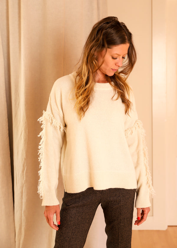 Diega Paris French Wool Fringe Sweater Pullover Jumper Ecru Ivory White