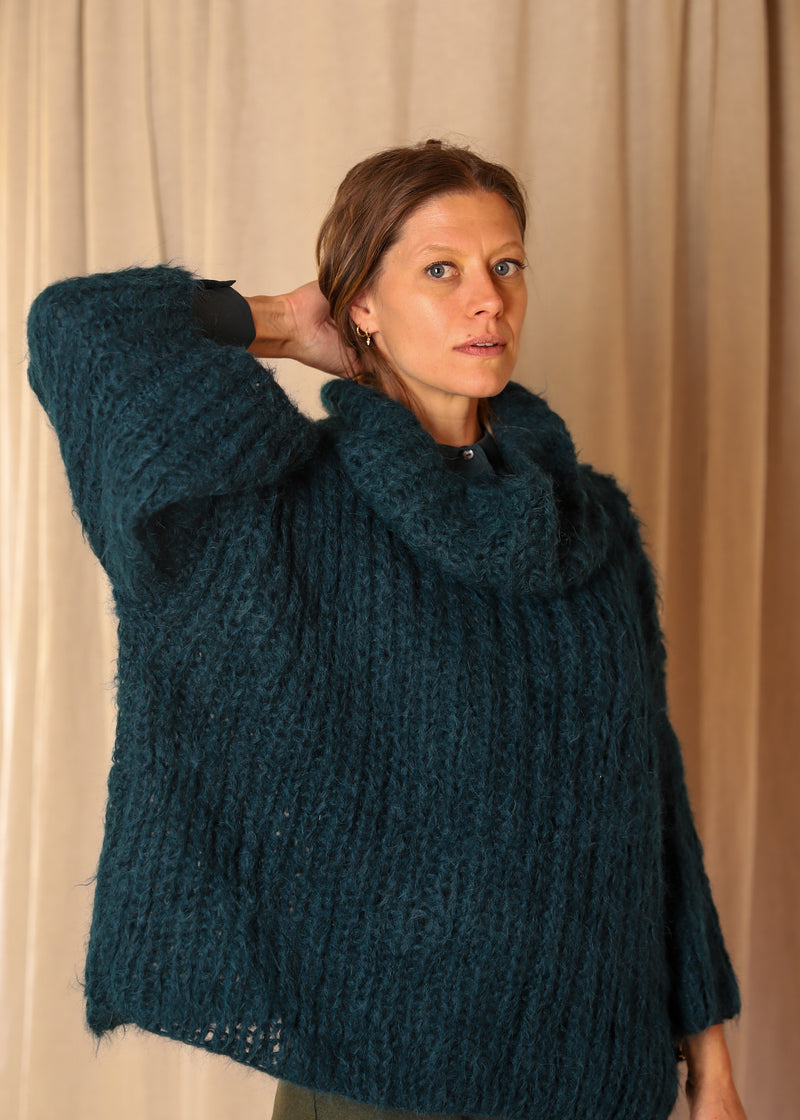 Funnel Neck Handknit Brioche Sweater