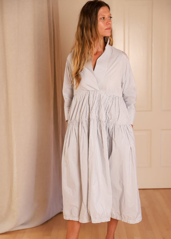 Les Filles d'ailleurs Dress Blue White Striped Grey French Paris