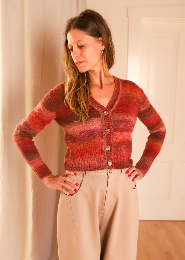 Just Female Dress Knit Cardigan Henna Spacedye Alpaca