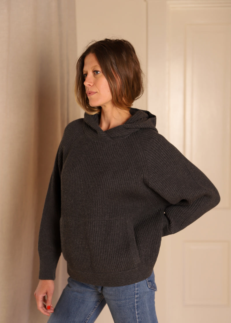 Hooded Poncho Tunic, Graphite