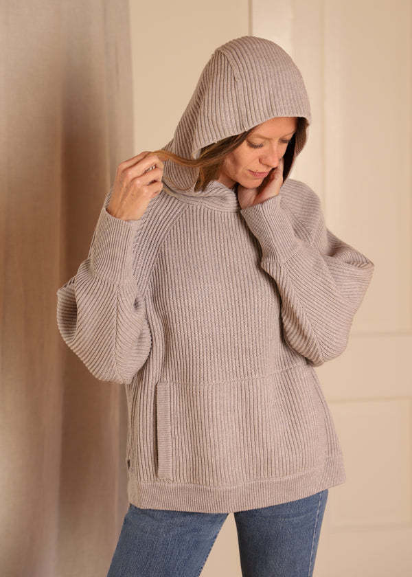 Hooded Poncho Tunic, Misty