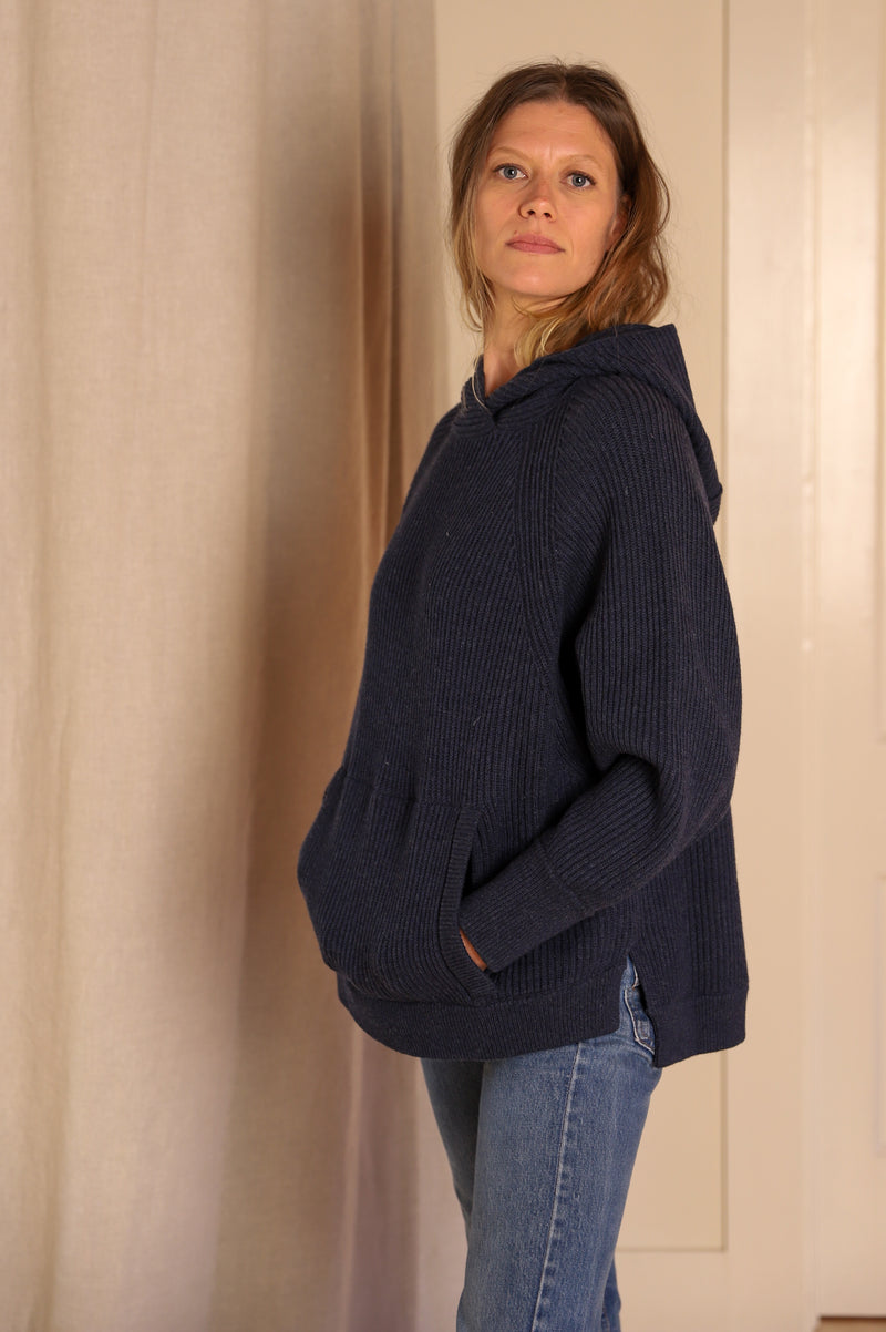 Hooded Poncho Tunic, Indigo