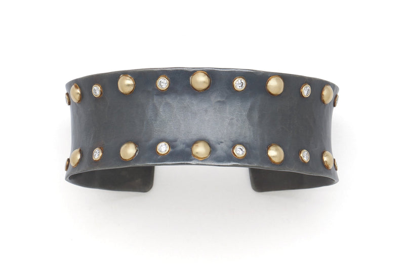 Tony Malmed, contemporary jewelry, oxidized sterling silver, 18kt gold, recycled metals, diamonds, fine jewelry, cuff bracelet, conflict-free, handmade, hammered finish, santa fe style