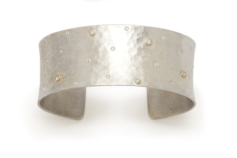 Tony Malmed, contemporary jewelry, sterling silver, 18kt gold, recycled metals, diamonds, fine jewelry, cuff bracelet, conflict-free, handmade, hammered finish, santa fe style