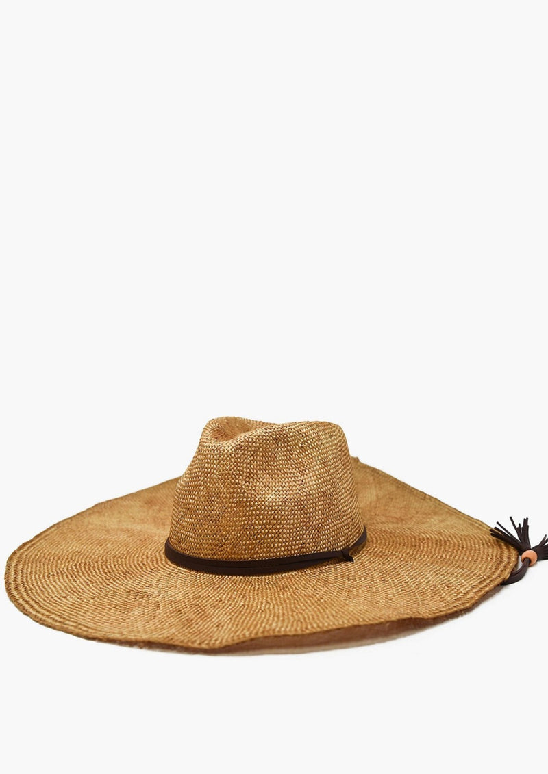 Lucia Straw Wide Hat, Rust