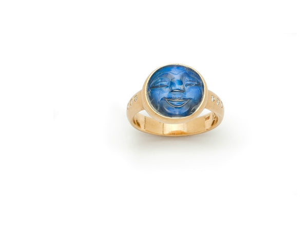 Tony Malmed, contemporary jewelry, 18kt gold, recycled metals, carved blue moonstone, diamonds, fine jewelry, ring, conflict-free, handmade, hammered finish, santa fe style