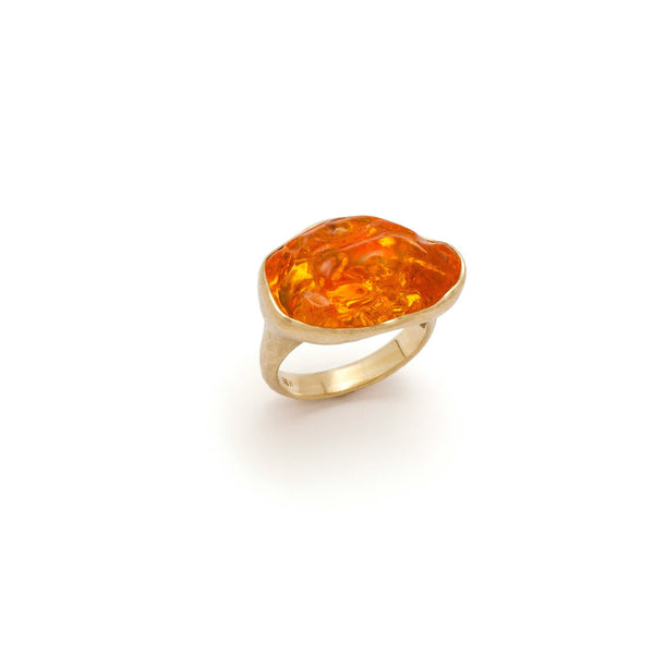 Tony Malmed, contemporary jewelry, 18kt gold, recycled metals, Mexican fire opal, fine jewelry, ring, conflict-free, handmade, hammered finish, santa fe style