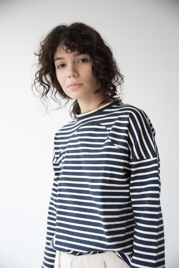 Miles Sweatshirt, Navy Stripe