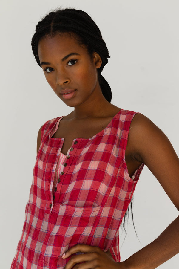 Myrtle Dress, Red Gauze Plaid