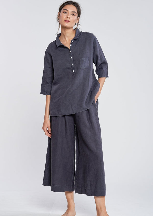 Filosofia Linen Mia Top Ink Hazy Grey