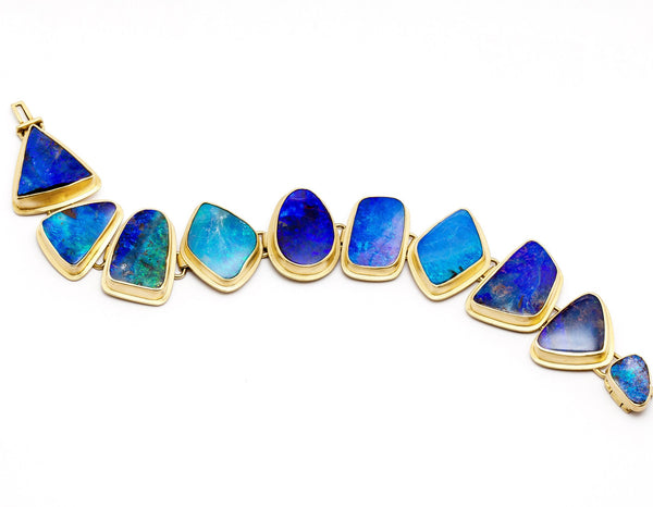 Tony Malmed, contemporary jewelry, 18kt gold, recycled metals, Australian boulder opals,, fine jewelry, link bracelet, conflict-free, handmade, one-of-a-kind, santa fe style