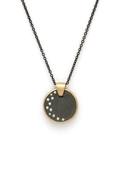 Tony Malmed, contemporary jewelry, oxidized sterling silver, 18kt gold, recycled metals, diamonds, fine jewelry, pendant, necklace, conflict-free, handmade, hammered finish, santa fe style