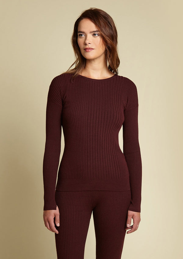 Ribbed Crew Neck, Wine