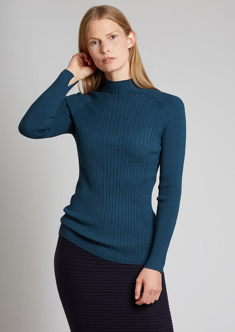 MOCK NECK RIB TOP, spruce
