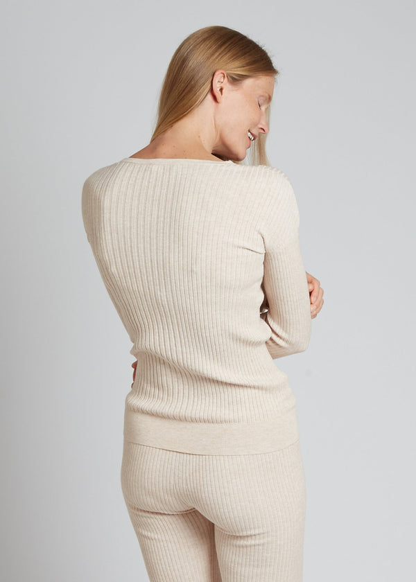Ribbed Crew Neck, Ivory