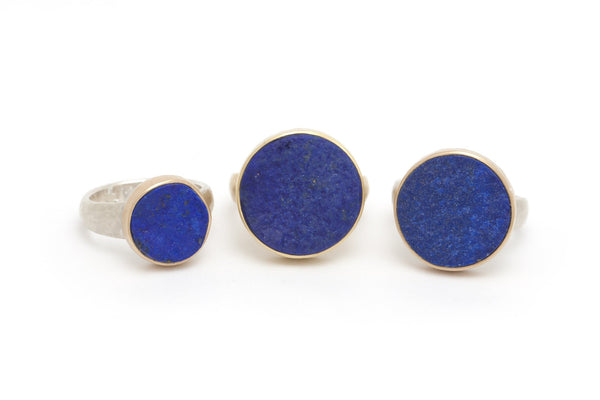 Tony Malmed Afghani Lapis Rough Top Ring set in 18k and Sterling Silver