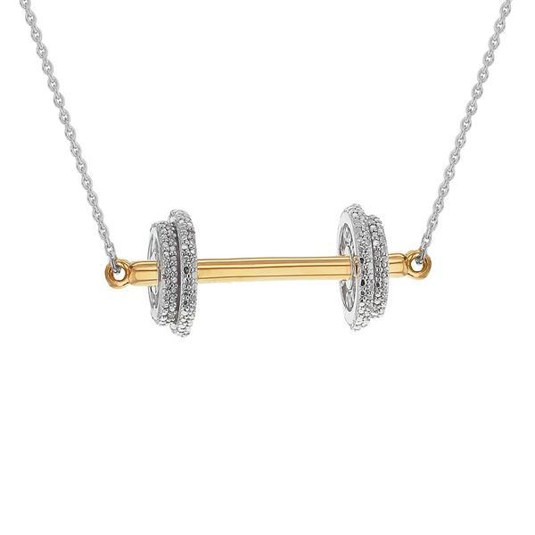 Joan Hornig Perfect Graduation Gift 18k Gold Dumbell Necklace with White Diamonds