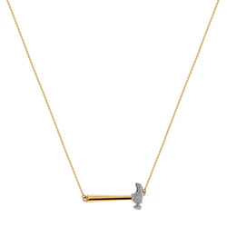 Joan Hornig Perfect Graduation Gift 18k Hammer Necklace with White Diamonds