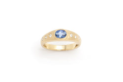Tony Malmed, contemporary jewelry, 18kt gold, recycled metals, ceylon sapphire, diamonds, fine jewelry, ring, conflict-free, handmade, hammered finish, santa fe style