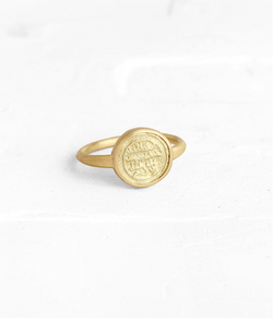 Triangle delicate ring with a gold coin